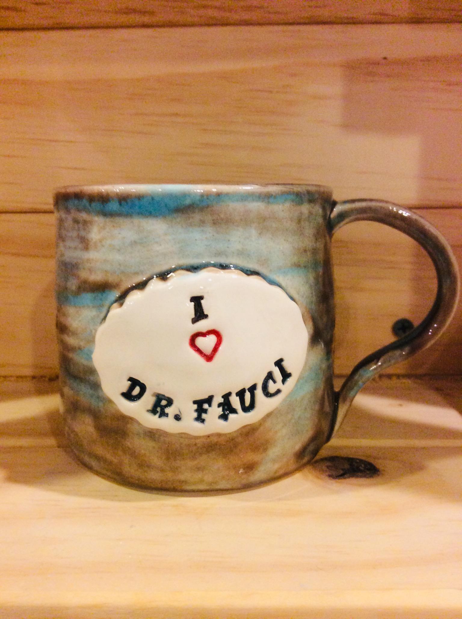 I Love Dr. Fauci Mug: Small Turquoise